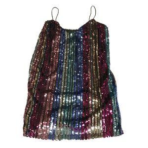 Boohoo Tall Sequin Multicolor Stripe Cami Dress 12